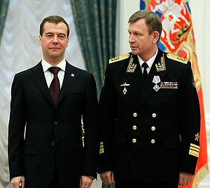 "Order of Naval Merit (Russia) - Commander of the Baltic Fleet, Vice Admiral Viktor Chirkov, being awarded the Order ""For Naval Merit"" by president Dmitry Medvedev on February 21, 2011. (Photo www.kremlin.ru)"