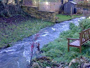 English: Village stream Avening stream close t...