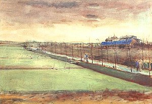 A watercolor of low lying meadows under a sulty, wintery, evening sky. A path lined with young poplars, with a ditch beside it, curls round towards a group of buildings that suggest the start of some urban development. A man with a wheelbarrow is about to cross the ditch on a little footbridge.