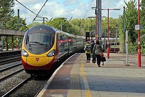 Lancaster railway station - A Virgin service to London, arriving at platform 4