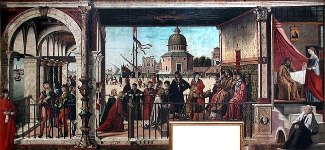 Vittore Carpaccio - Sant'Orsola polyptich - Arrivo degli ambasciatori inglesi presso il re di Bretagna.jpg