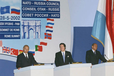 Meeting of the NATO–Russia council in Rome, Italy on 28 May 2002 Vladimir Putin 28 May 2002-17.jpg