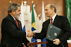 Brazil–Russia relations - The presidents of Brazil and the Russian Federation sign the Brazil-Russia Strategic Alliance, on October 18, 2005.