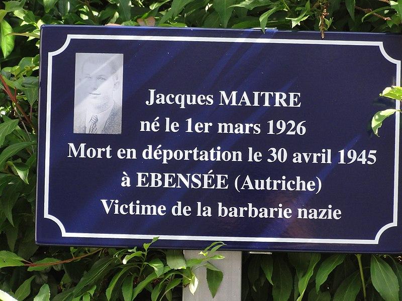 Vregny (Aisne) mémorial Jaques Maitre, déporté