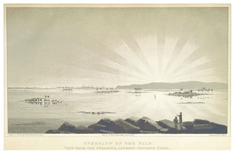 WEBSTER(1830) 2.011 OVERFLOW OF THE NILE. VIEWFROM THE PYRAMIDS, LOOKING TOWARDS CAIRO.jpg