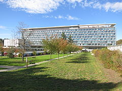 WHO HQ main building, Geneva from South