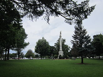 Wakefield, Massachusetts - View of Wakefield's Upper Common, with Civil War memorial at center right.