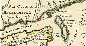 Quebec Expedition - The approximate site of the disaster is marked in red on this 1733 map detail.
