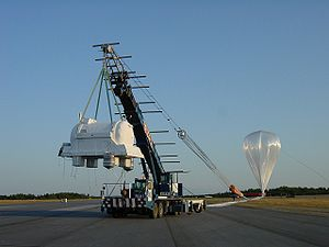 "Lynn Lake - NASA's ""Balloon-borne Experiment with a Superconducting Spectrometer"" lifting off near Lynn Lake, August 7, 2002"