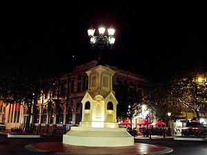 Whanganui - The Watt Fountain in Victoria Avenue, the former Post Office building is in the background