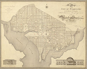 "14th Street Bridges - 1818 map shows the Long Bridge between the words ""Potomac"" and ""River""."