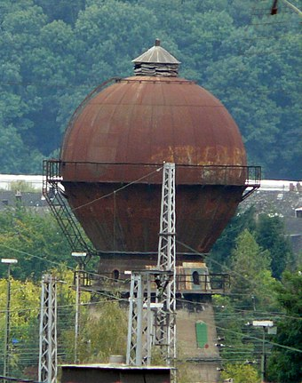 Disused sphere-shaped railway water tower in Trier, Germany