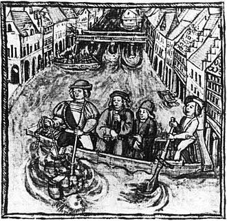 Trial by ordeal - Water-ordeal. Miniature from the chronicle.