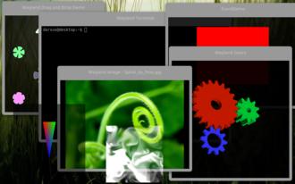 Wayland (display server protocol) - Image: Wayland demo 2
