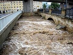 Weisseritz in Löbtau zur Jahrhundertflut 2002