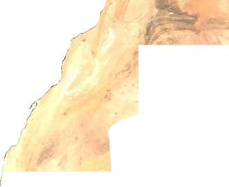 Outline of the Sahrawi Arab Democratic Republic - An enlargeable satellite image of Western Sahara
