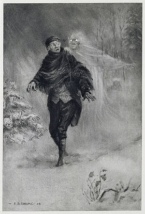 Ichabod Crane - What fearful shapes and shadows beset his path amidst the dim and ghastly glare of a snowy night! by Frederick Simpson Coburn (1899).  Ichabod Crane walks home after an evening listening to ghost stories.