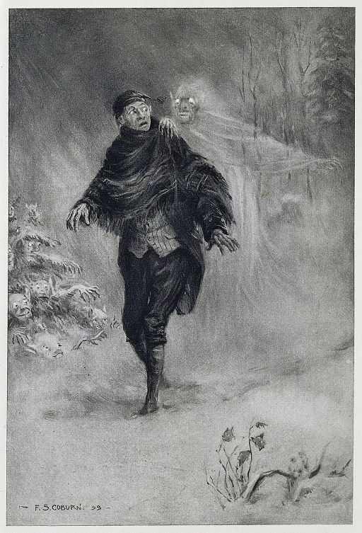 What fearful shapes and shadows beset his path - The Legend of Sleepy Hollow (1899), frontispiece - BL