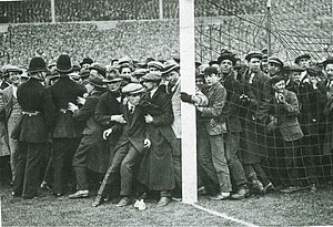 1923 FA Cup Final - The crowd was so large that fans swarmed right up to, and even onto, the pitch