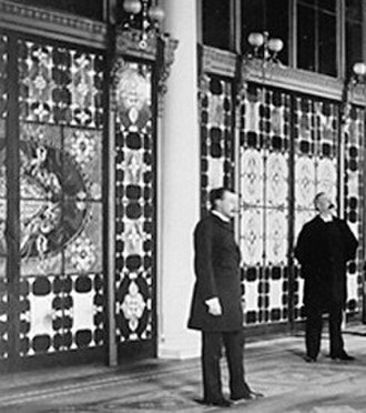 Louis Comfort Tiffany - The Entrance Hall of the White House in 1882, showing the newly installed Tiffany glass screens