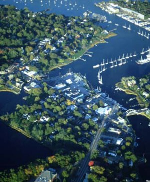 Wickford, Rhode Island - Wickford from the air, looking east.