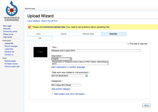 Wikimedia Commons - Add file information for wiki indaba.tiff