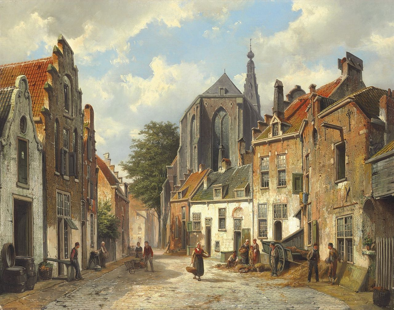 Willem Koekkoek - Townspeople on a sunny Dutch street.jpg
