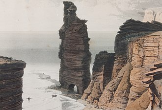 Old Man of Hoy - A painting by William Daniell of the Old Man with two legs, some time around 1817.