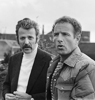 William Goldman - Goldman (left) and James Caan while shooting A Bridge Too Far in 1976