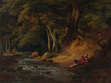 William Hodges - Jacques and the Wounded Stag- 'As You Like It,' Act II, Scene I - Google Art Project.jpg