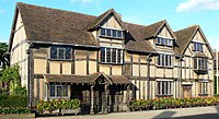 John Shakespeare's house, believed to be Shakespeare's birthplace, in Stratford-upon-Avon (Source: Wikimedia)