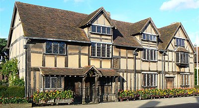 John Shakespeare's house, believed to be Shakespeare's birthplace, in Stratford-upon-Avon William Shakespeares birthplace, Stratford-upon-Avon 26l2007.jpg