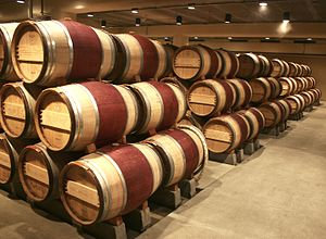 Oak wine barrels at the Robert Mondavi vineyar...