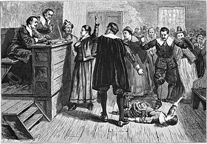 Salem witch trials - The central figure in this 1876 illustration of the courtroom is usually identified as Mary Walcott.