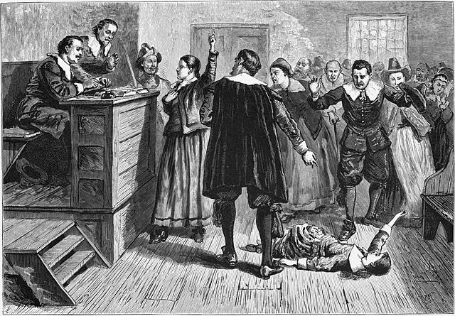Witchcraft at Salem Village. Engraving. The central figure in this 1876 illustration of the courtroom is usually identified as Mary Walcott.