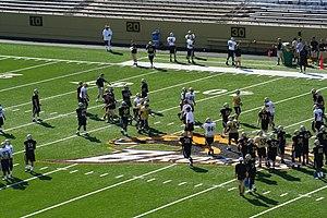 2008 Western Michigan Broncos football team - Football team during a preseason practice at Waldo Stadium.