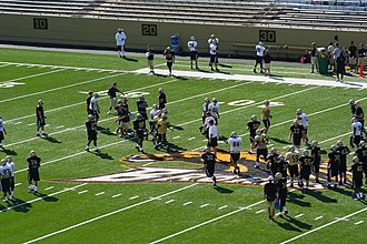 2008 Western Michigan Broncos football team - Football team during a preseason practice at Waldo Stadium.