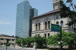 Downtown Worcester, with City Hall at the right