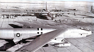 7th Bomb Wing - YB-52 prototype bomber at Carswell AFB, 1955 shown with a 7th Bomb Wing B-36