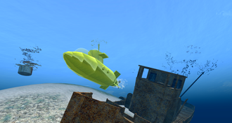 Virtual world - A yellow submarine created in Second Life
