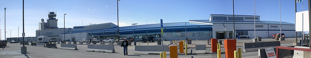 Cropped picture of Yellowknife Airport from the car park