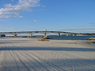 Yorktown, Virginia - Coleman Bridge to Gloucester Point, Virginia, viewed from Yorktown Beach.