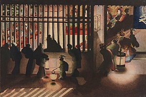 Katsushika Ōi - Nightscene in the Yoshiwara (吉原格子先之図) by Katsushika Oi