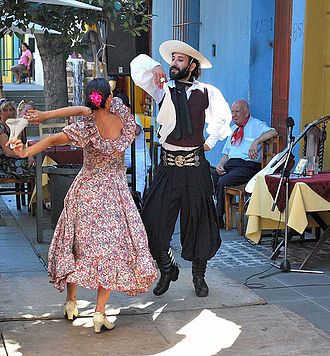 Zamba (artform) - An Argentine couple dancing Zamba in the streets of Buenos Aires as a show for tourists.