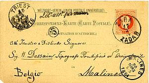 Zara Zadar 1884 Triest Let-arr-per-mare