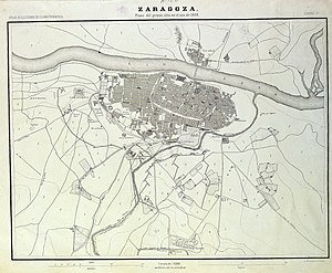 First Siege of Zaragoza - Map (1868) of the First Siege of Zaragoza.