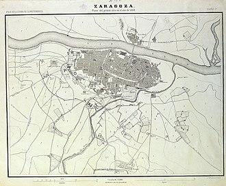 First Siege of Zaragoza - Map (1868) of the First Siege of Zaragoza.