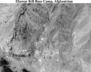Operation Infinite Reach - A U.S. satellite photo of the Zhawar Kili Al-Badr Base Camp