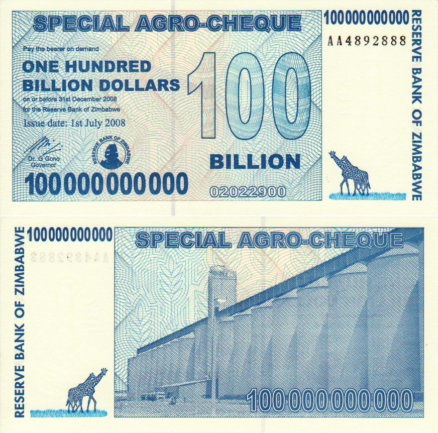 Zimbabwe 100000000000 Dollars Bill 2008