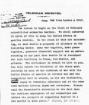 The decrypted Zimmermann Telegram.